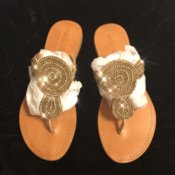 5acbd53f0 Matisse Gold Sandals with Rhinestones. M 5b36b492aa57195b97a3c1ca